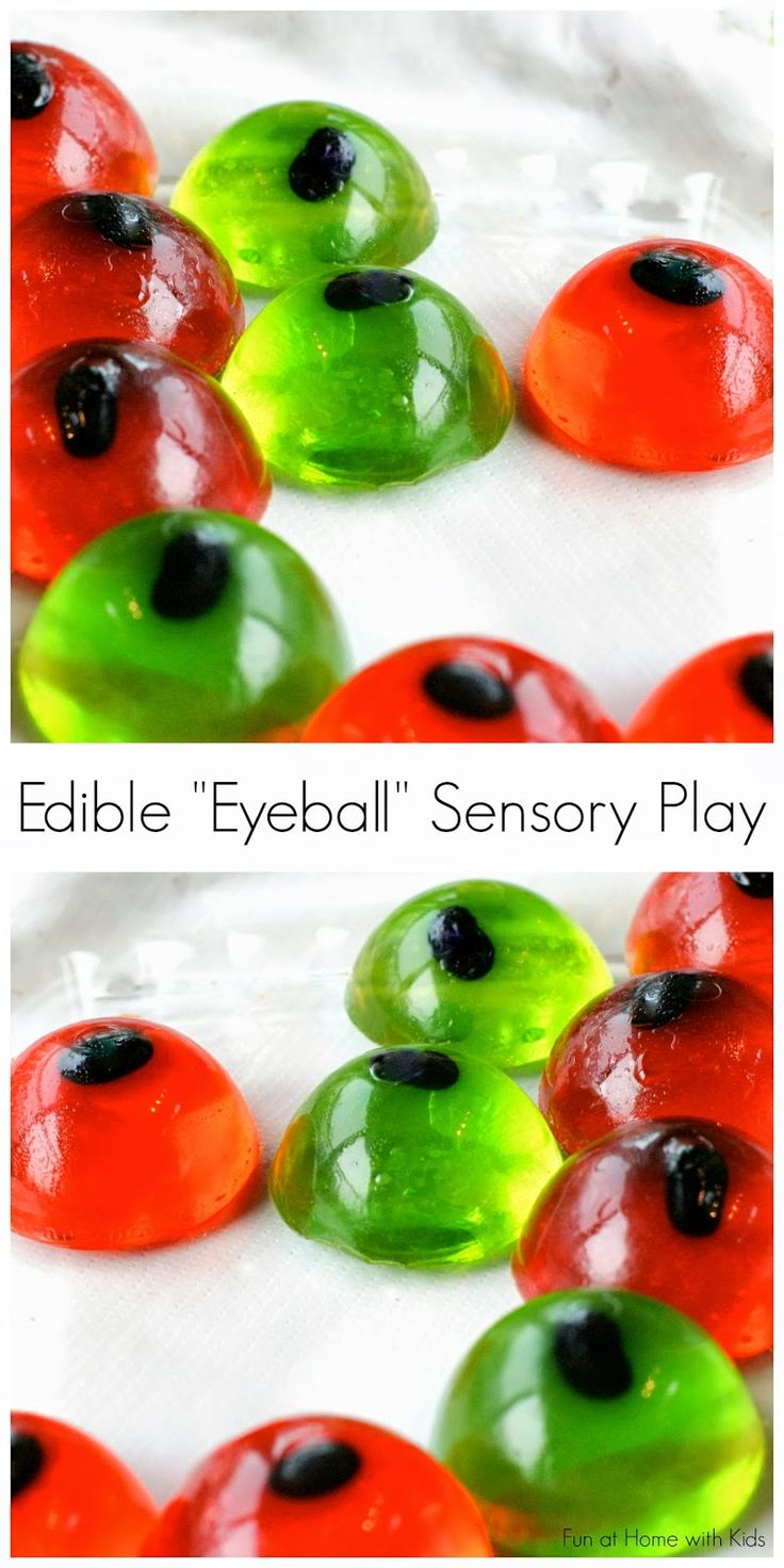 Edible Eyeball Sensory Play - an all ages bin you can put together over and over again or read at the end of the post how to modify the recipe to make a tasty Halloween snack/treat.  From Fun at Home with Kids.