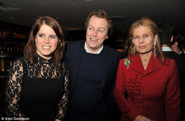 Party people: Princess Eugenie looked stunning in lace as she posed with Tom Parker-Bowles and Lady Aliai Forte