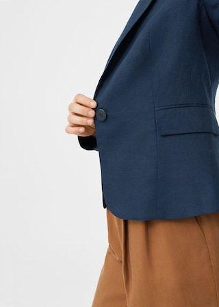 Gestructureerde linnen blazer | MANGO