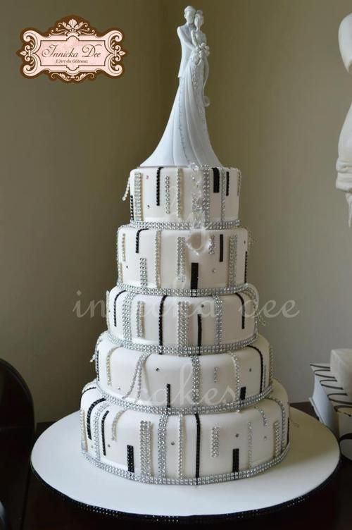 White black and silver wedding cake
