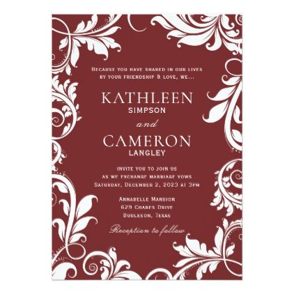 Majestic Leaves Invitation Template | Burgundy - luxury gifts unique special diy cyo