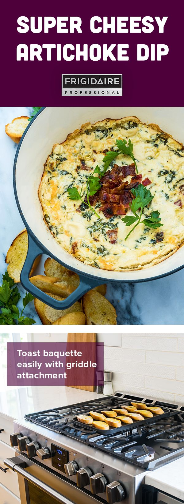 Spinach and artichoke dip has long been a champion in the party food world. Take this classic dish up a notch with crispy maple bacon and toasted baguette slices for dipping, made easy with the Frigidaire Professional griddle attachment. A breeze to prepare and guaranteed to result in multiple recipe requests. Click for full recipe by @dennisprescott.