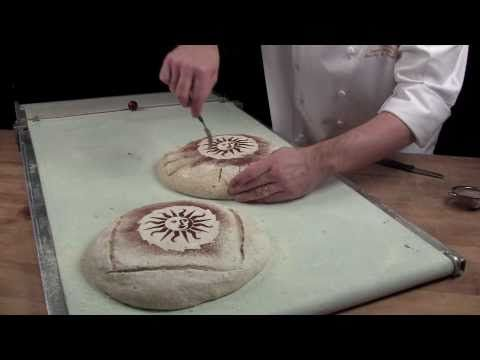 Stenciling on your bread (short video) & Incision bread cutting edges for decoration.