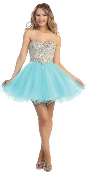 A dazzling sweetheart short dress with a diamond gem embelished bodice and ruffled hem
