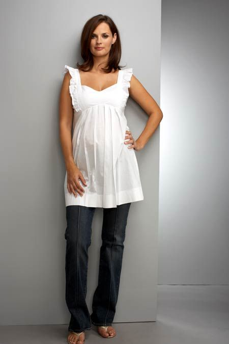 Maternal America - White Frill Maternity Top - Maternity Tops - Queen Bee