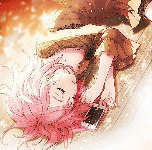 She fell asleep with her phone how cute anime - Anime girl on phone ...