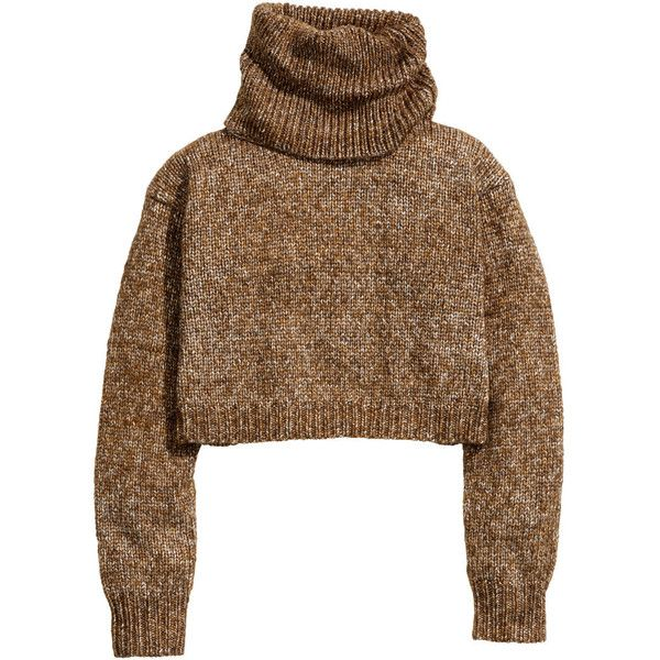 H&M Short polo-neck jumper (115 CNY) ❤ liked on Polyvore featuring tops, sweaters, shirts, h&m, dark beige, brown shirt, turtleneck shirts, wool shirt, short shirts and wool sweater