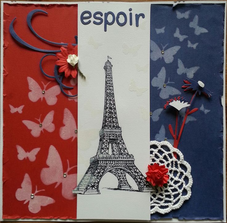 Scrapbooking doesn't always need a photo - it is also great therapy. In memory of the lives lost ~ Espoir = Hope xo