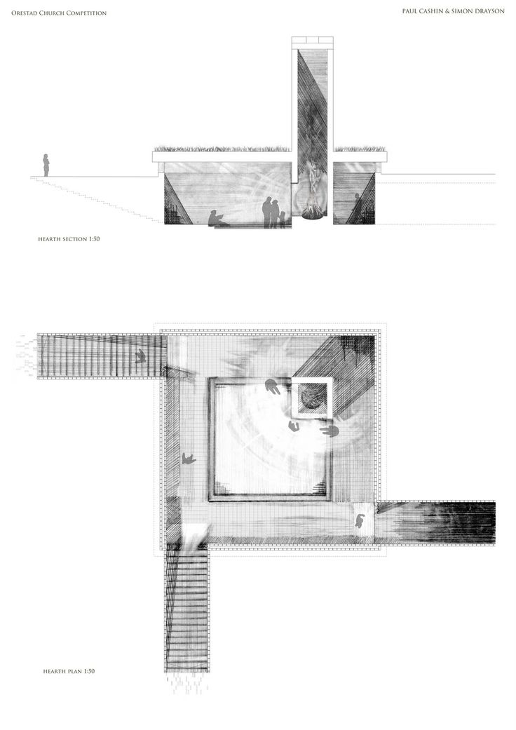 Orestad Church Competition - hearth section and plan | Paul Cashin and Simon Drayson | Portsmouth - Our work utilises the computer as a tool for technical precision and repetition of modular elements, such as the brick; whilst we use hand shading to add texture and shadow to an otherwise banal drawing.