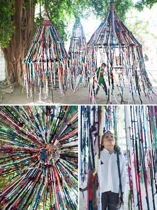 fantastically creative: finger knitted tents.. a project for school I reckon...