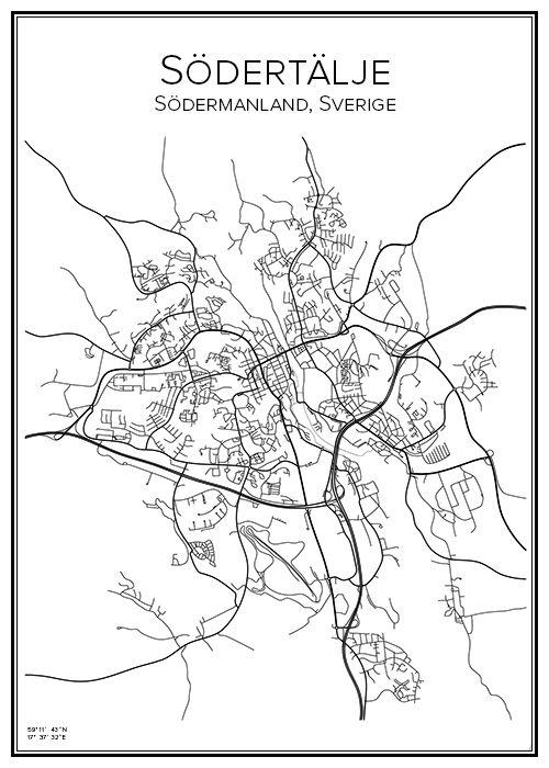 Södertälje. Södermanland. Sverige. Karta. City print. Print. Affisch. Tavla. Tryck.
