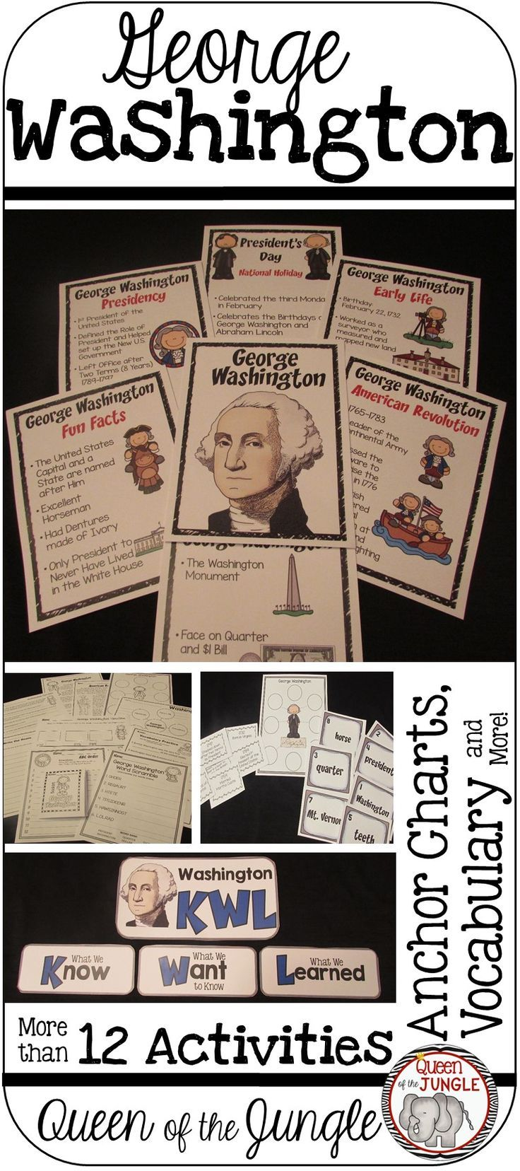 President's Day- George Washington -Activities, Anchor Charts, Comprehension Pages, Timelines, Vocabulary and more.