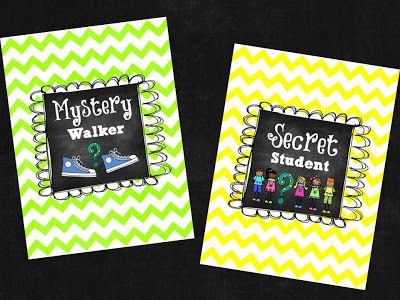 Mystery Walker & Secret Student signs  read about this fun behavior management idea @M. Happens in First Grade!