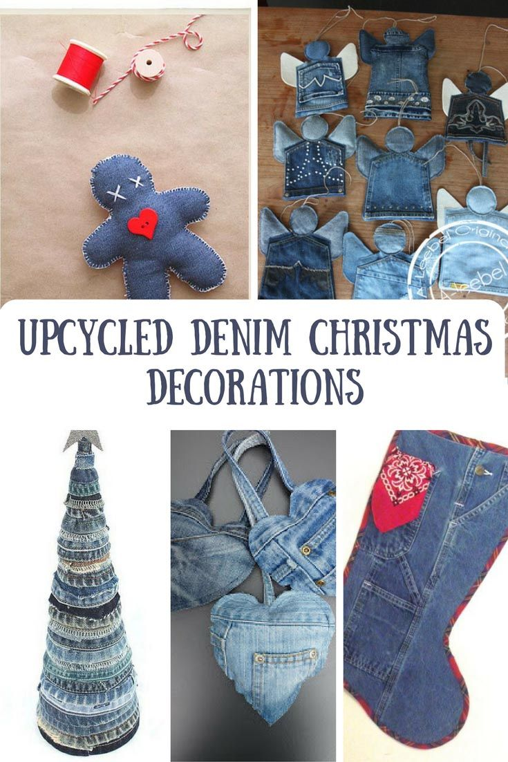 A round up of my favourite 5 upcycled denim Christmas decorations and ornaments.