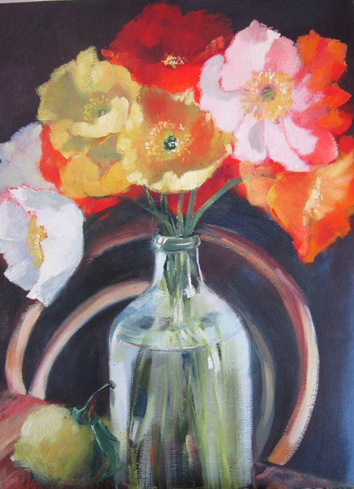 Papawers met suurlemoen / Poppies with lemon Oil on board 30 x 40 cm