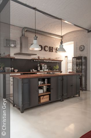 k cheninsel industrial home sweet home pinterest meubles industriels maison et industriel. Black Bedroom Furniture Sets. Home Design Ideas