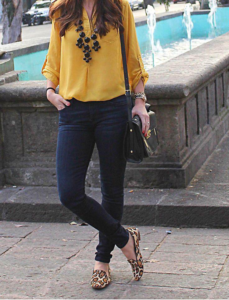 Mustard top, black jeans,  black bubble necklace & leopard flats
