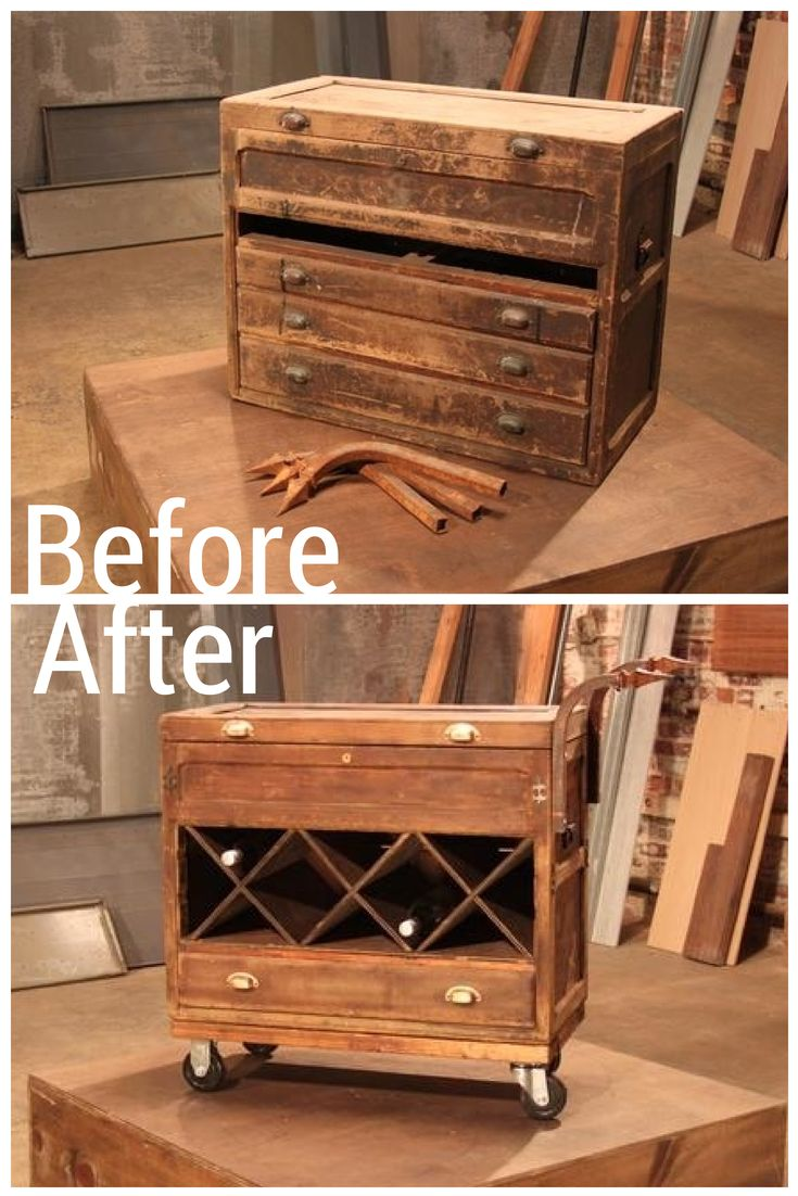 A Tool Box Transforms into an Industrial Rolling Bar Cart
