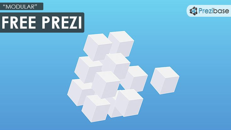 Free prezi template with a modular concept.  3D white cubes on a blue gradient background.  Simple yet clean and professional-looking template.  Zoom anywhere and insert your own content.