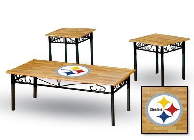 New 3 Piece Natural Finish Coffee U0026 End Tables Set With A Pittsburgh  Steelers Theme The