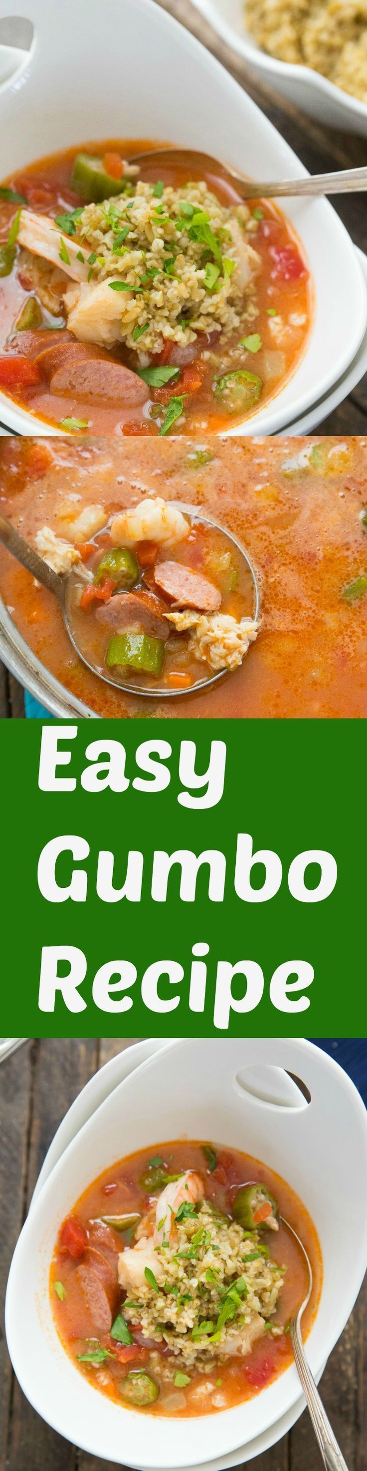 An easy gumbo recipe that is sure to please a crowd! This recipe is filled with veggies and seafood! It is hearty and delicious! via @Lemonsforlulu