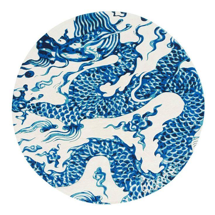 Gandia Blasco Chain Stitch Blue China Circular Rug