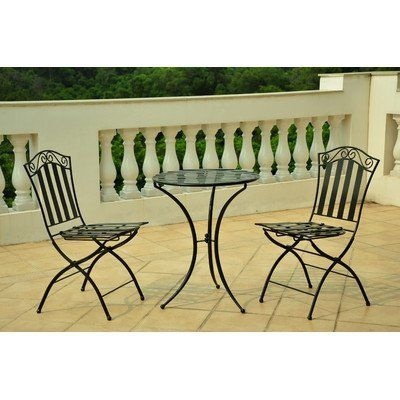 International Caravan Venice Three Piece Outdoor Cafe Bistro Set by International Caravan. $189.99. Folding chairs, great for patios and small areas. Chair: 17.5 in. W x 17.5 in. D x 35 in. H (15 lbs.). Set includes: (2) Chairs and (1) Table. Table: 23 in. W x 23 in. D x 28 in. H (12 lbs.). Made of Iron, uses EP Rust for a much longer life span. For over 44 years, International Caravan has been one of the leaders in quality outdoor and indoor furniture. Using only the...