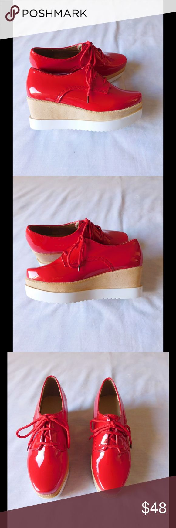 Divine Red Platform Shoes W/Tan & White Sole NWOT. These pair of shoes are really cute and exclusive. Super comfy. Gorgeous colors and exclusive design. Size 7/8 - Save $$$ on bundles. Shoes Platforms