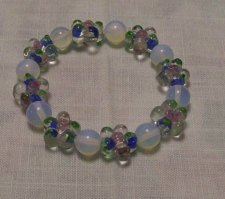 Moonstone and floral glass stretch  bracelet - A$10.00