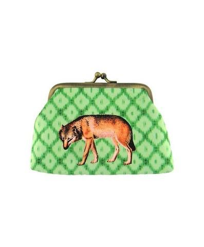 Wolf kiss lock frame faux leather coin purse by Mlavi Studio. Wholesale available at http://mlavi.com/mlavi-animal-themed-vegan-bag-wallet-and-accessories-wholesale.html #animal #vegan #wholesale #fashion #accessories #gift