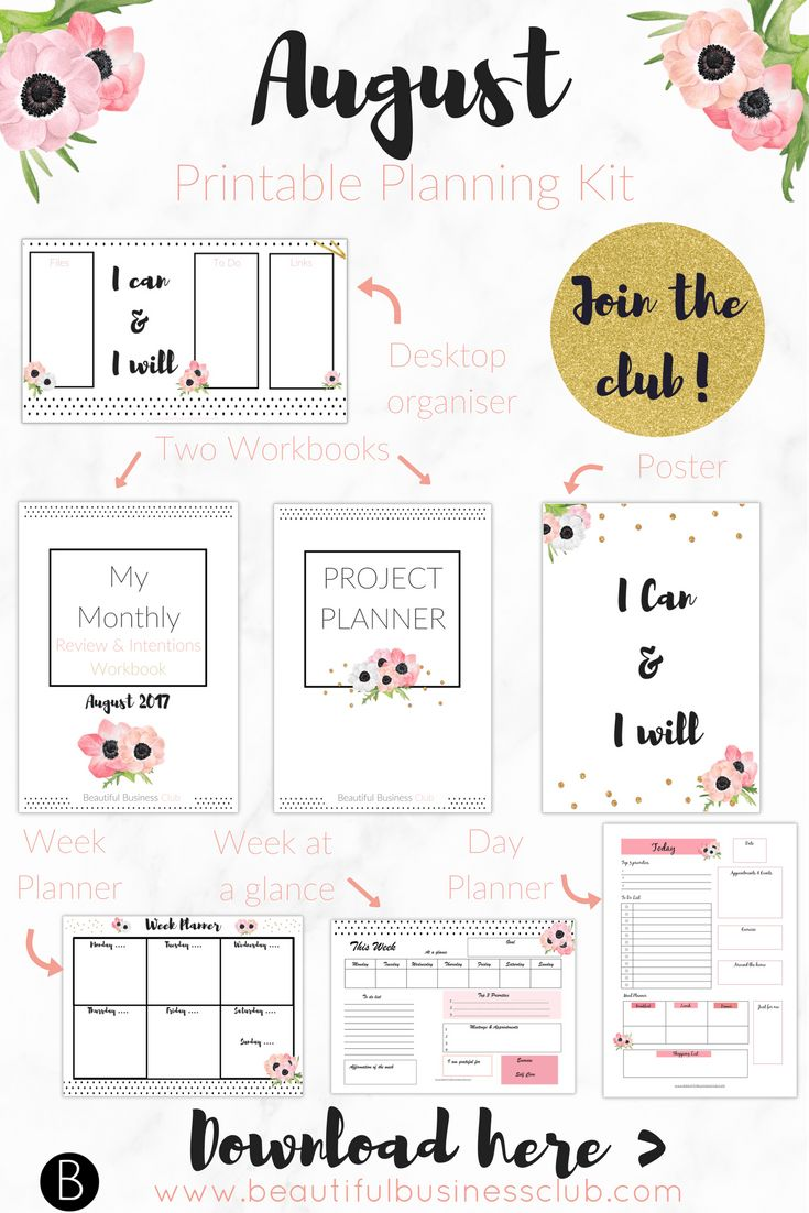 Beautiful Printables to help you plan and organise your business. This months panning pack includes your monthly review and intentions workbook, a project planner, poster, day planner, week planner, week grid and desktop organiser. Download the complete pack today