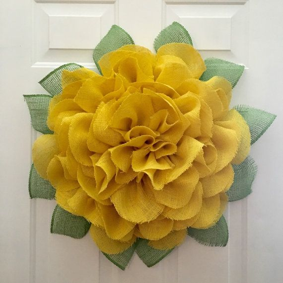 Marigold Burlap Wreath by JuliesWreathBoutique on Etsy
