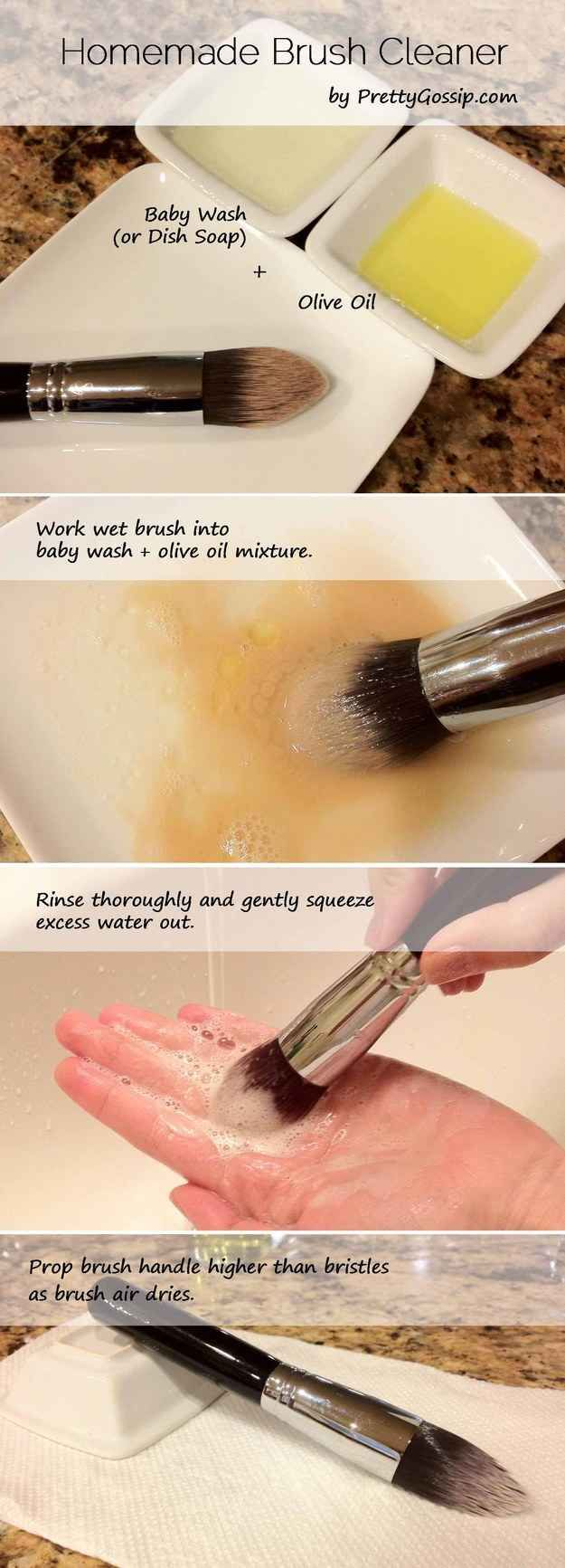 Makeup tool cleaning guide: Swirl your makeup brushes in a DIY mixture of dish soap and olive oil for a like-new feel.