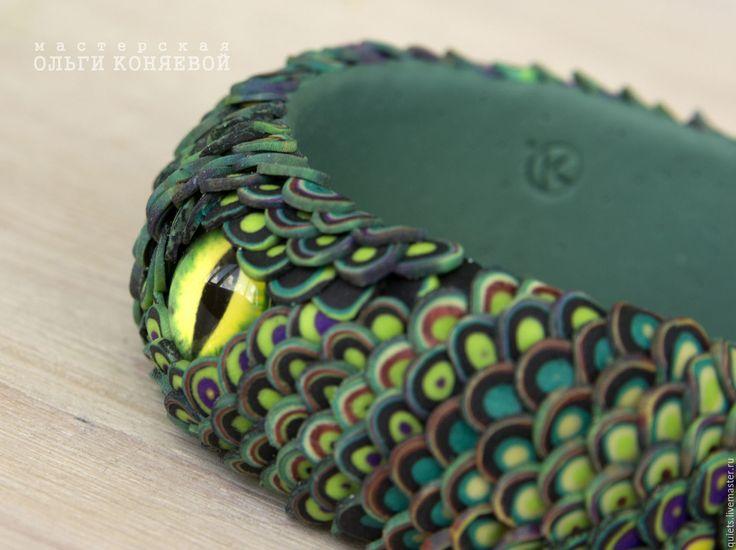Купить Браслет Дракон зелёный - тёмно-зелёный, браслет, браслеты, браслет на руку, браслет в подарок