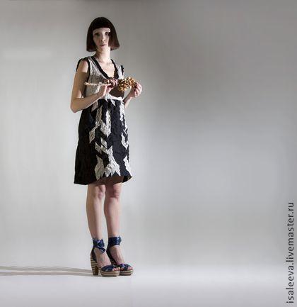 """Бежево-черное платье """" Графика"""". - чёрный,в полоску,платье летнее,платье из хлопка"""