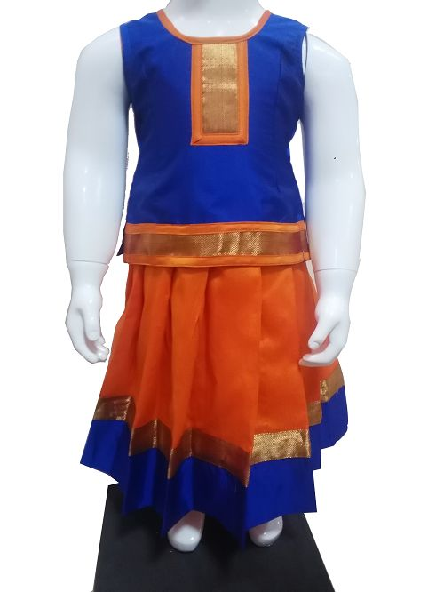 #Pattupavadai #kidspattupavadai Orange with Blue Pattu Pavadai only at www.Bujuma.com