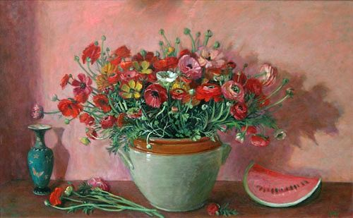 Ranuculus and Watermelon, Margaret Olley. Oil on composition board, 76.0 x122.0 cm.1978