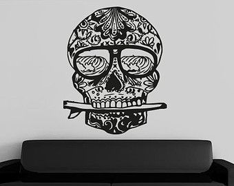 Sugar Skull Surf Sand and Sun Decal