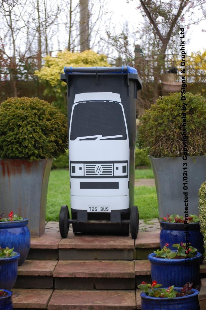 VW T25 Wheelie Bin Decal £13 inc p n p with FREE Personalised Reg ... a selction of colours are available