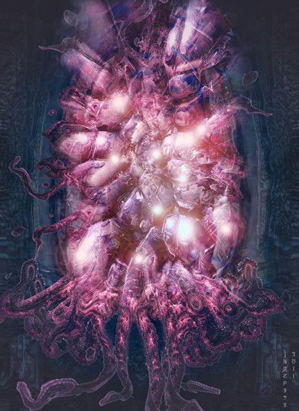 """Yog Sothoth by Daigoro115   """"This is my interpretation of the summoning of Yog Sothoth thru a Victorian/Edwardian era mirror.""""   via @Jason Cogswell"""