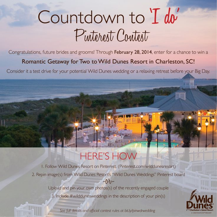 "Enter for your chance to win a Romantic Getaway for Two to Wild Dunes Resort in Charleston, SC. Here's How: 1) Follow Wild Dunes Resort on Pinterest 2) Repin image(s) from ""Wild Dunes Weddings"" Pinterest Board -or- Upload and pin your own photo(s) of the recently engaged couple 3) Include #wilddunesweddings in the description of your pin(s) 