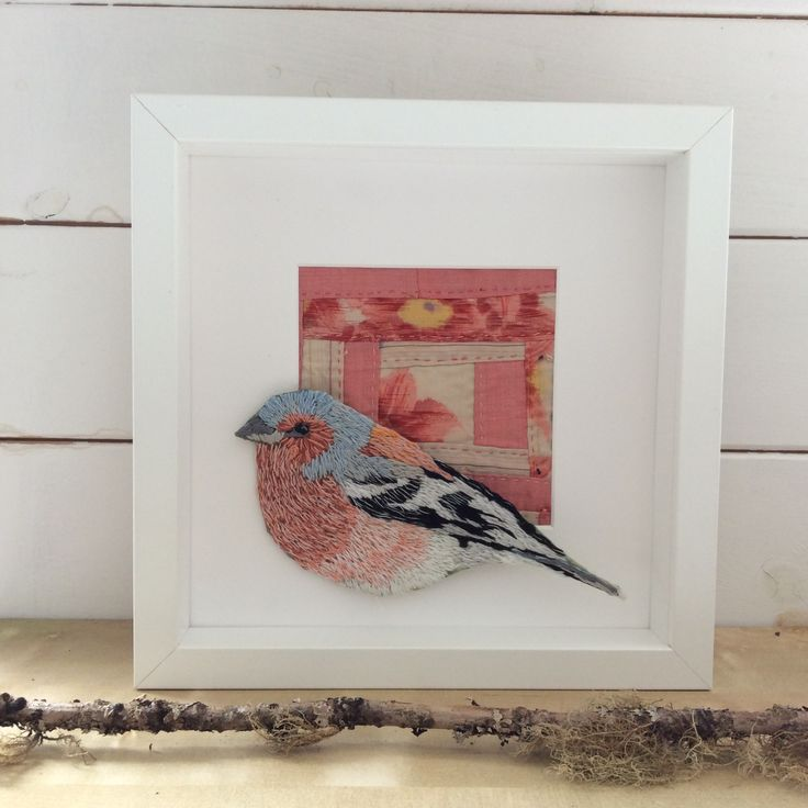 Hand embroidered Chaffinch. Framed 20x20cm.