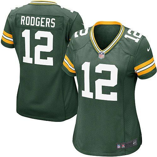 Women's Green Nike Limited Green Bay Packers #12 Aaron Rodgers Team Color NFL Jersey$79.99