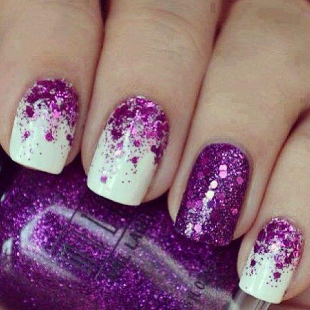 purple glitter nails-gorgeous