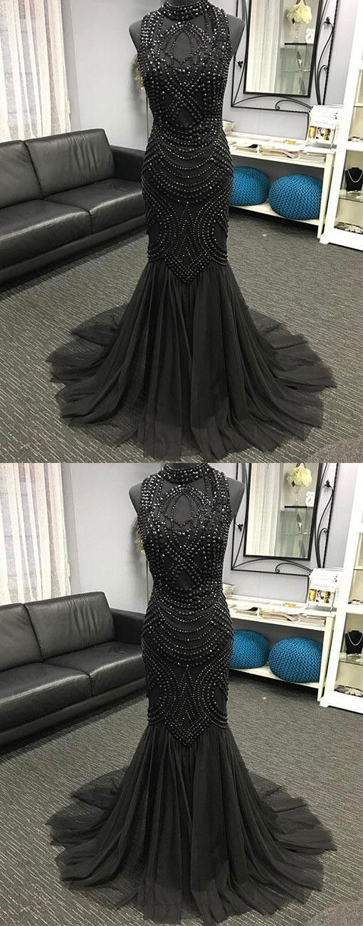 Unique tulle beads mermaid long prom dress, evening dress P1218 #promdresses #longpromdress #2018promdresses #fashionpromdresses #charmingpromdresses #2018newstyles #fashions #styles #hiprom #prom #beadings