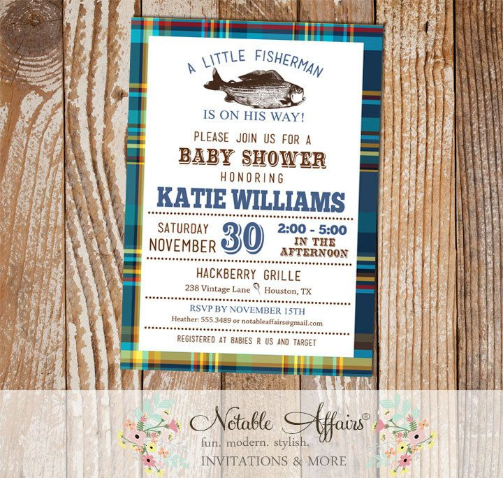 Blues and Greens plaid Vintage Fish Little Fisherman baby shower invitation
