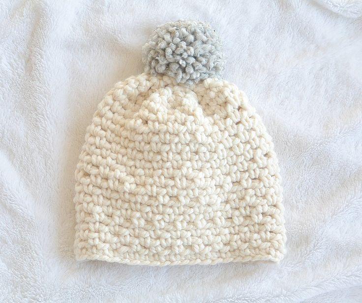 Easy Chunky Pom Crochet Hat Pattern