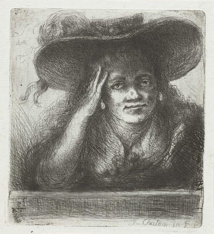 Jan Chalon   Vrouw met grote ronde hoed, Jan Chalon, 1790   Vrouw met grote ronde hoed. Ze ondersteunt haar hoofd met haar rechterhand.