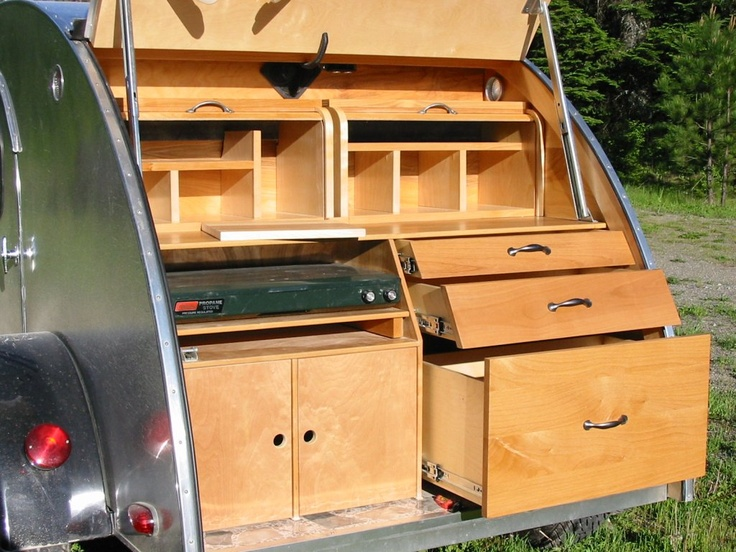 140 best images about teardrop campers on pinterest diy for Teardrop camper kitchen ideas