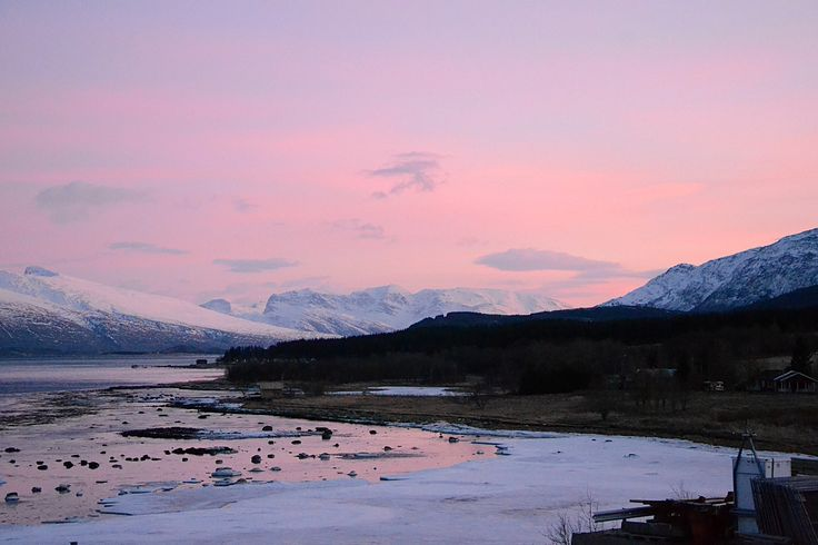 View out of my window in the morning of my arrival to Nesna. #fjord #pinkish #sky #norwegian #landscape